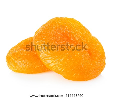 Dried apricots close-up on a white background. - stock photo