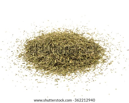 dried aromatic thyme isolated on white background - stock photo