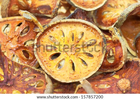 Dried bael fruit.