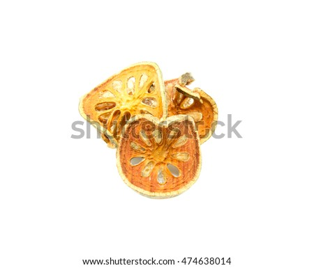Dried bael slice for  fruit  juice on white background