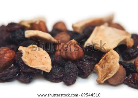 Dried banana, sultanas and nuts - stock photo