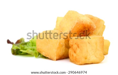 Dried bean curd on white background - stock photo