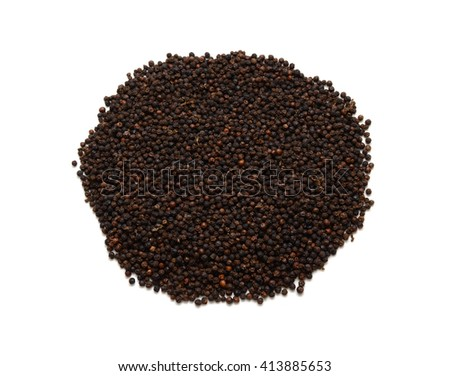 dried black peppercorns isolated on white background