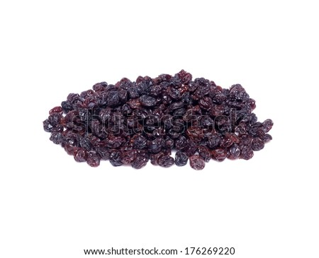 Dried blackcurrant  isolated on white background - stock photo