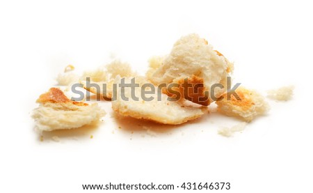 Dried bread crumbs on the white background