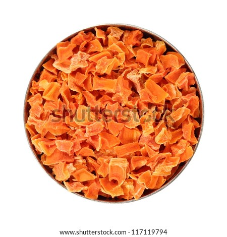 dried carrot slices in a bowl, isolated white background. - stock photo