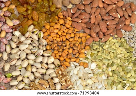dried cereal seeds and fruits - stock photo