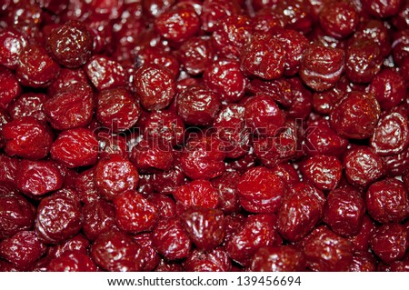 dried cherries. for movie time - stock photo