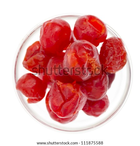 Dried cherries isolated on a white background - stock photo