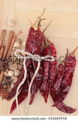 Dried chili for cooking - stock photo