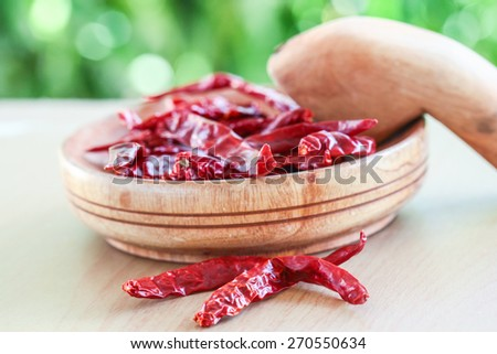 dried chili in natural light with blurred background effect of trees in the garden. image suitable for restaurants, supermarkets, wholesalers, resellers chili products or health products  - stock photo