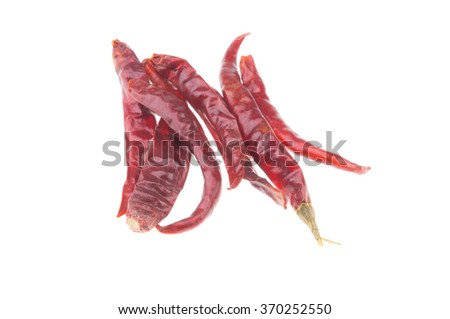 Dried chili  on isolate white background - stock photo