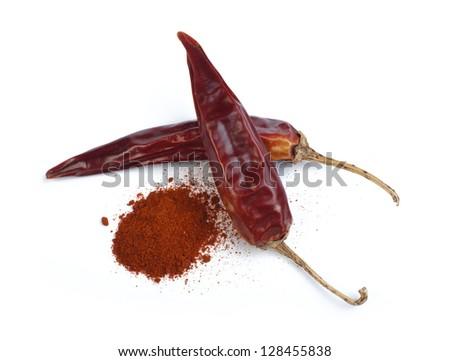 Dried chillies and chilli white isolated. Studio shot. - stock photo