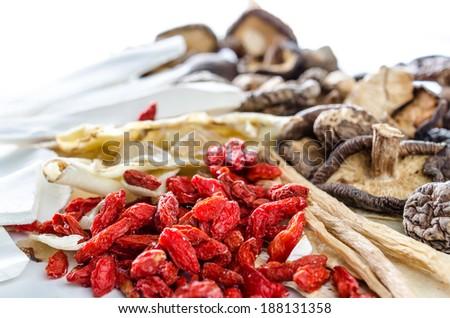 Dried Chinese herbs,Herbal medicine - stock photo