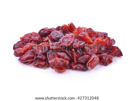Dried cranberries isolated on white background