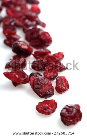 Dried crunberry on white background - stock photo