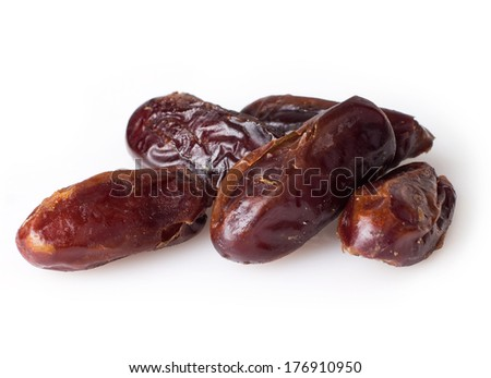 dried dates isolated on white background - stock photo