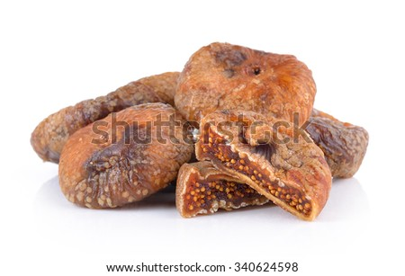 Dried figs isolated on a white background - stock photo