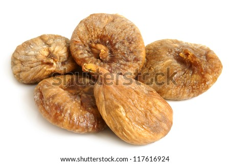 Dried figs on a white background - stock photo
