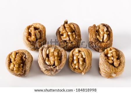 dried figs, white almond stuffed - stock photo