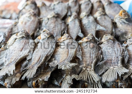 Dried fish for sale on a shop in Mekong delta, Vietnam