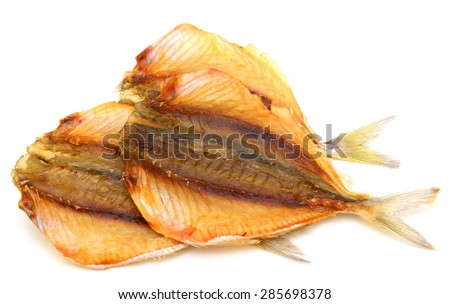 Dried fish of Southeast Asia over white background - stock photo