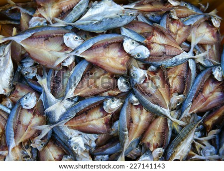 Dried fish, seafood product, salted, Vietnamese food, commonly found in coastal Asian, show at Vietnam open air market