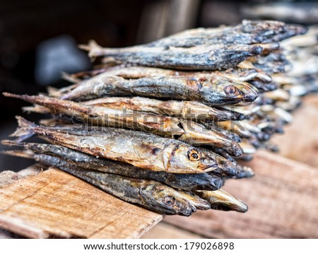 Dried fish used in Asian cuisine - stock photo