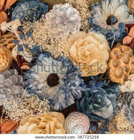 Dried flowers composition - stock photo