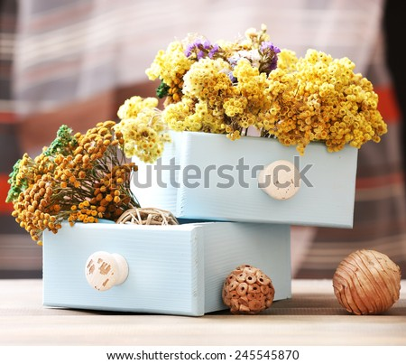 Dried flowers in chest on bright background - stock photo