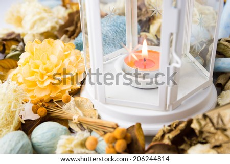 Dried flowers with lamp and candle for scented perfume aroma therapy - stock photo