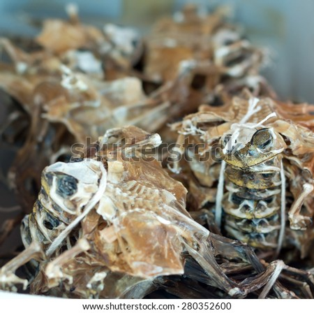 Dried frogs for sale in Singapore. - stock photo