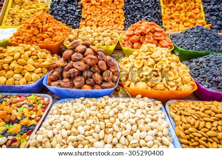 Dried fruit and nuts at a farmers market in Pyatigorsk, Russia - stock photo