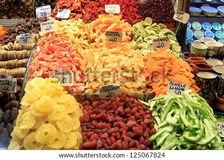 Dried fruit at Spice Market in Istanbul, Turkey - stock photo