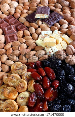 dried fruit Christmas - stock photo