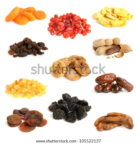 Dried fruit collection on a white background