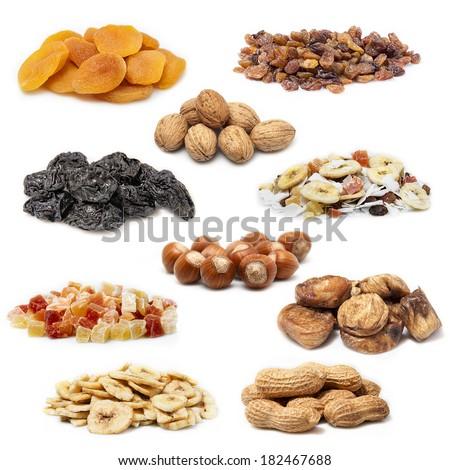 Dried fruit collection on a white background - stock photo