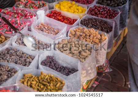 Dried fruit of the Chinese at Chinatown in Chinese New Year