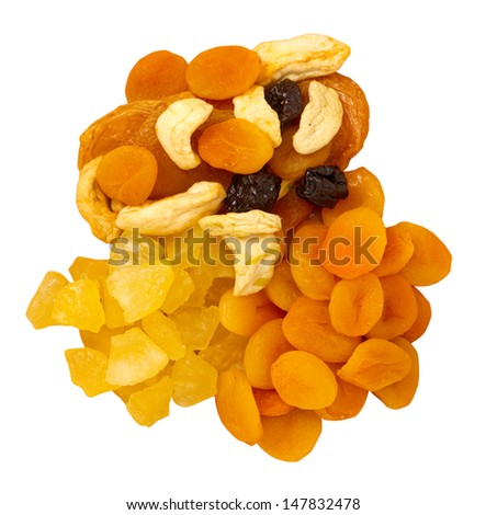 Dried fruit on white background - stock photo