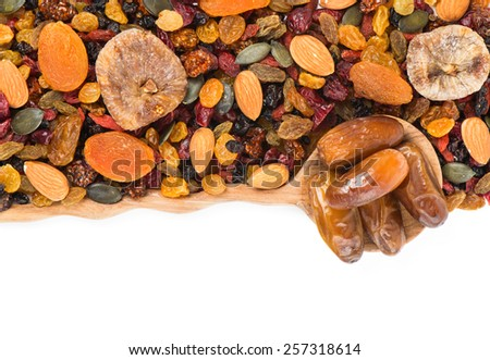 Dried fruits and berries assortment isolated on white background, top view - stock photo