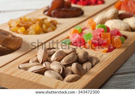 dried fruits and nut - stock photo