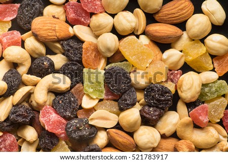 Dried Fruits and Nuts Background, Texture, Top View