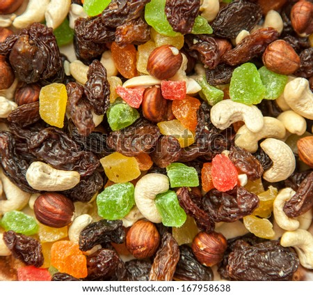 dried fruits and nuts close up soft focus - stock photo