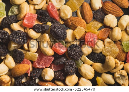 Dried Fruits and Nuts Closeup Texture, Top View