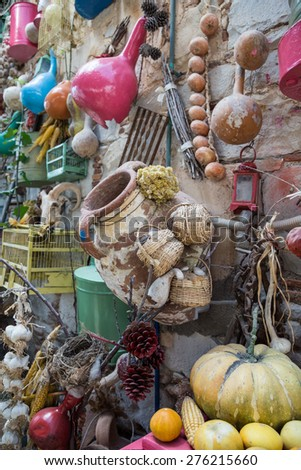 dried fruits and objects hanged on wall