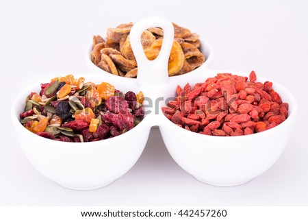 Dried fruits, berries and seeds in bowl closeup picture.