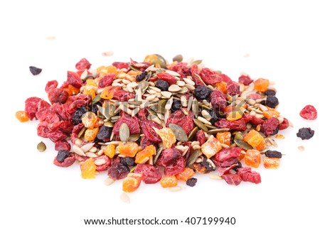 Dried fruits, berries and seeds isolated on white background. - stock photo