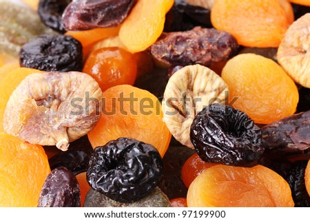 Dried fruits close up - stock photo