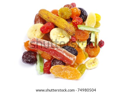 dried fruits collection on white - stock photo
