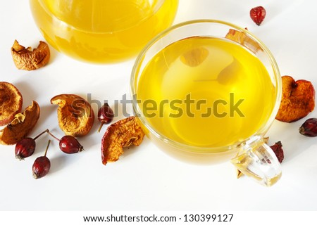 dried fruits compote at jag and cup, white background